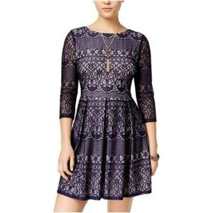 Juniors Lace Overlay 3/4 Sleeve Party Dress 13/14
